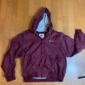 Nike Maroon Windbreaker ButtonUp Jacket Spell Out